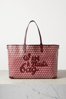 Anya Hindmarch I Am A Plastic Bag Appliqued Leather-trimmed Printed Coated-canvas Tote - Burgundy