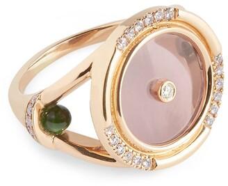 L'ATELIER NAWBAR Rose Gold and Diamond Amulets of Light Ring