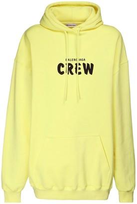 Balenciaga Over Crew Print Cotton Jersey Hoodie