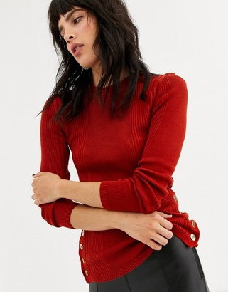 Topshop jumper with button detail in rust
