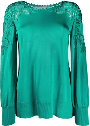 Alberta Ferretti Long Sleeve Lace Detail Knit Top
