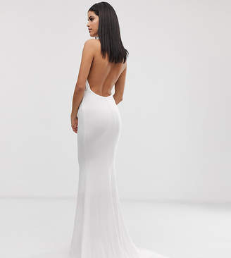 Club L London Tall high neck backless fishtail maxi dress in white