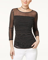 INC International Concepts Petite Dot-Print Illusion Top, Only at Macy's
