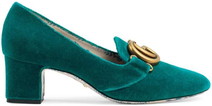 Gucci Velvet mid-heel pump with Double G