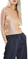 Topshop Foil Pointelle Crop Sweater