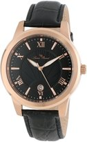 Lucien Piccard Men's LP-10046-RG-01 Textured Dial Leather Watch