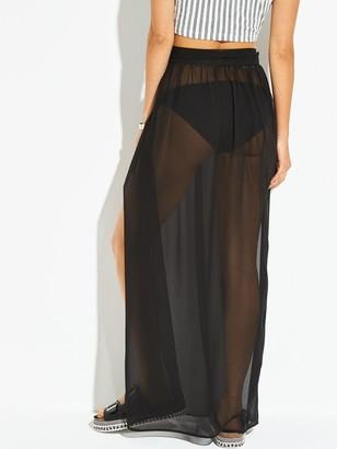 Very Chiffon Tie Side Maxi Beach Skirt - Black