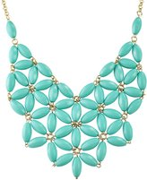 Jane Stone Linked Beaded Mesh Statement Costume Jewelry Chunky Bib Necklace for Women(Fn0511-CA)