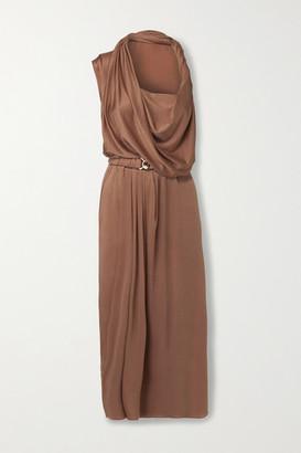 Dodo Bar Or Ora Belted Satin Midi Dress - Tan