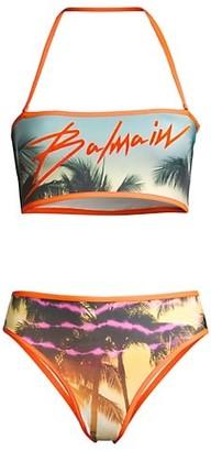 Balmain Palm Tree 2-Piece Bandeau Bikini Set