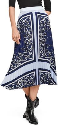 Scotch & Soda Bandana Print Pleated Satin Midi Skirt