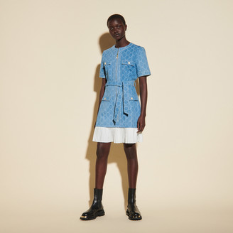 Sandro Jacquard denim coat dress