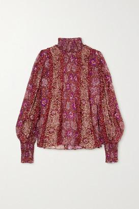 Ulla Johnson Elita Ruffled Floral-print Fil Coupe Silk-blend Blouse