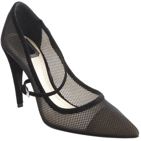 Christian Dior black screen canvas pointed toe pumps