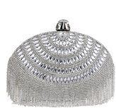 HAPPYTIMEBELT Oval Evening Clutch with Crystal Tassel for Bride and Bridesmaids