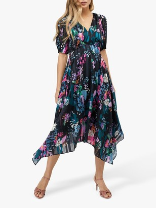 Monsoon Penny Hanky Floral Midi Dress, Navy