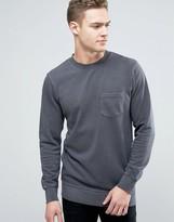Jack and Jones Originals Crew Neck Sweatshirt with Pocket in Washed Jersey