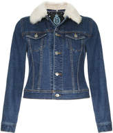 GUILD PRIME faux fur collar cropped denim jacket
