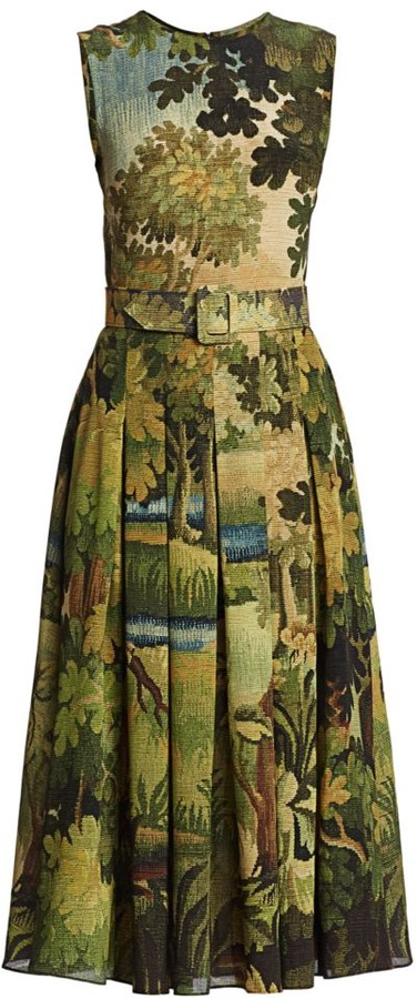 Oscar de la Renta Landscape-Print Silk Pleated Sleeveless Belted Midi Dress