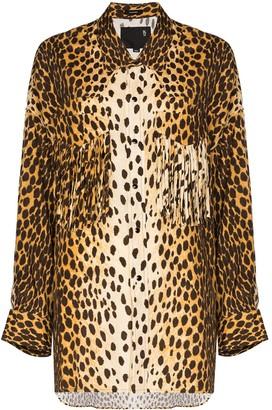 R 13 Western fringed cheetah-print shirt