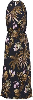 Vince Belted Floral-print Plisse Crepe Midi Dress