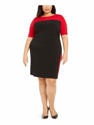 Connected Apparel Womens Red 3/4 Sleeve Jewel Neck Above The Knee Sheath Evening Dress Plus US Size: 18W