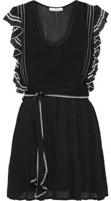 IRO Ottie Ruffle-trimmed Embroidered Georgette Mini Dress