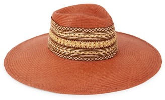 Glamour Puss Tangiers Embroidered Straw Wide-Brim Hat
