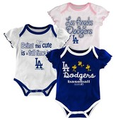 MLB LA Dodgers Girls 3pk Bodysuit Crawlers