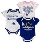MLB LA Dodgers Girls 3pk Bodysuit Crawlers
