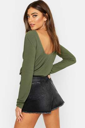 boohoo Basic Low Back Scooped Long Sleeve T-Shirt