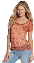 Lucky Brand Scoopneck Keyhole Back Sheer Printed Top
