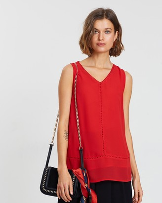 Faye Black Label - Women's Red Workwear Tops - V-Neck Trim Camisole - Size One Size, 10 at The Iconic