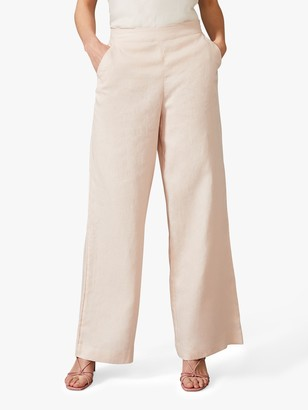 Phase Eight Keller Linen Trousers, Dusty Pink