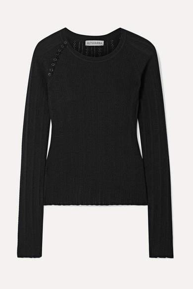 Altuzarra Barca Pointelle-knit Wool And Cashmere-blend Sweater - Black