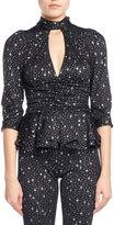 Balenciaga Star-Print Tie-Neck Ruched Jersey Blouse, Black/White