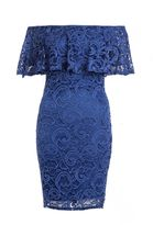 Quiz Royal Blue Lace Bardot Dress