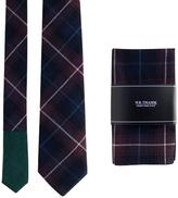 Plaid Navy Neck Tie & Pocket Square Set
