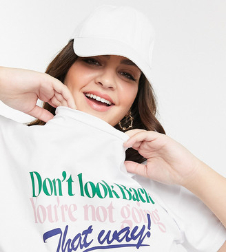 ASOS DESIGN Curve t-shirt with retro dont look back print in white