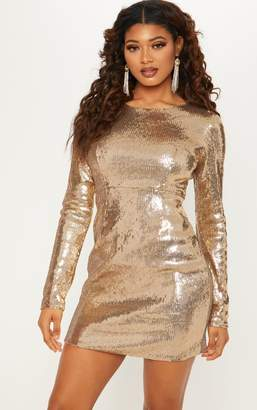 PrettyLittleThing Tall Gold Sequin Long Sleeve Bodycon Dress