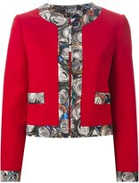 Moschino can print trim jacket - women - Silk/Polyamide/Spandex/Elastane/Virgin Wool - 42