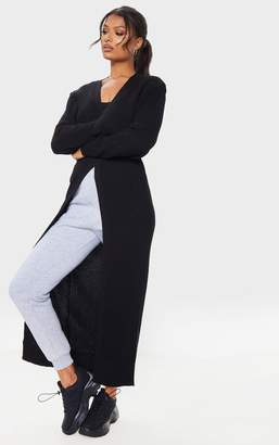 PrettyLittleThing Black Maxi Knitted Cardigan