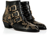 Chloé Leather Susanna Studded Ankle Boots in Black
