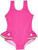 Florence Eiseman Skirted Polka-Dot One-Piece Watermelon Swimsuit, Pink, Size 6-24 Months