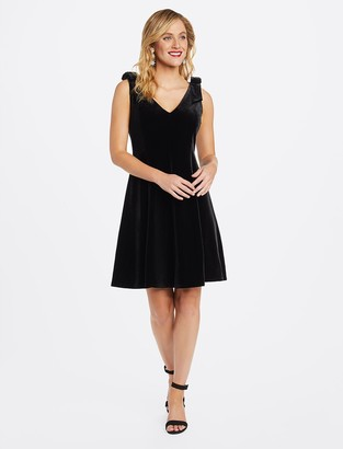 Draper James Velvet Bow Shoulder Dress