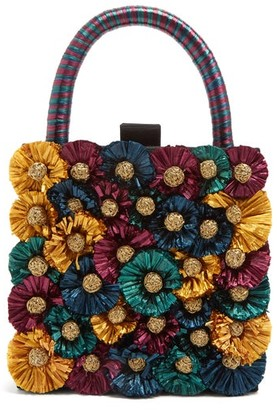 Sanayi 313 - Flora-embellished Twill Box Clutch - Womens - Multi