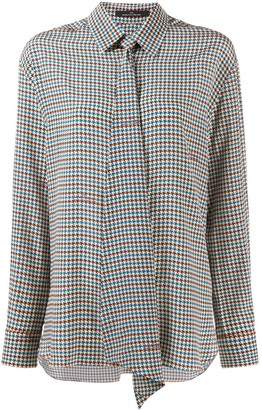 Rokh Houndstooth Pussy-Bow Blouse