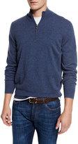 Brunello Cucinelli Cashmere Quarter-Zip Pullover Sweater, Indigo