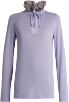 Sonia Rykiel Ruffled-neck wool and cashmere-blend sweater