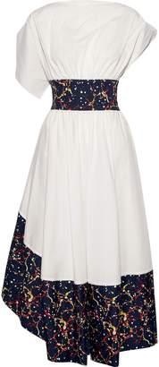 Rosie Assoulin Asymmetric Gathered Stretch-cotton Poplin Midi Dress